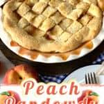 A baked peach pandowdy.