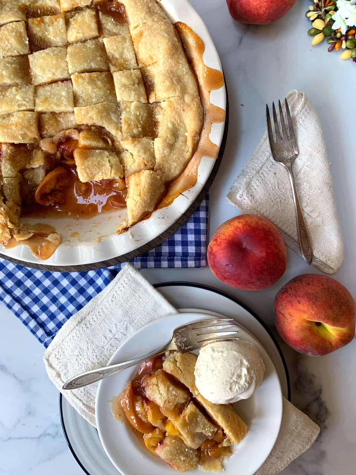 A peach pandowdy with ice cream.