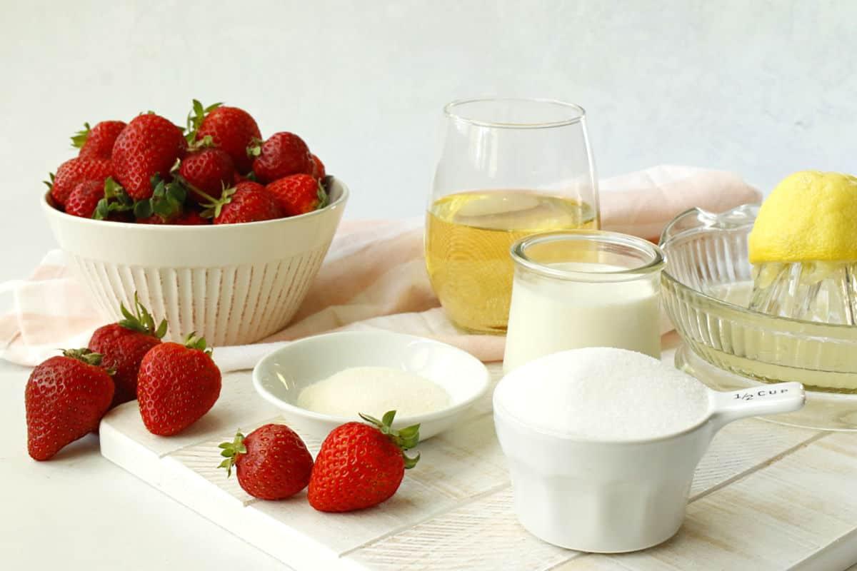 strawberries, wine, sugar, lemon, gelatin