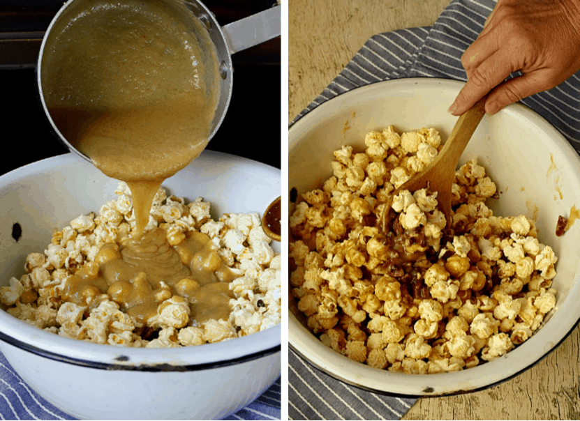 pouring carmamel on popcorn and stirring together