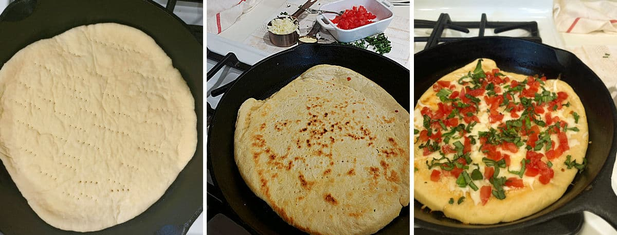 Cooking the pizza dough in an iron skillet.