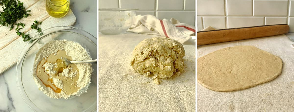 Steps for making the beer pizza dough.