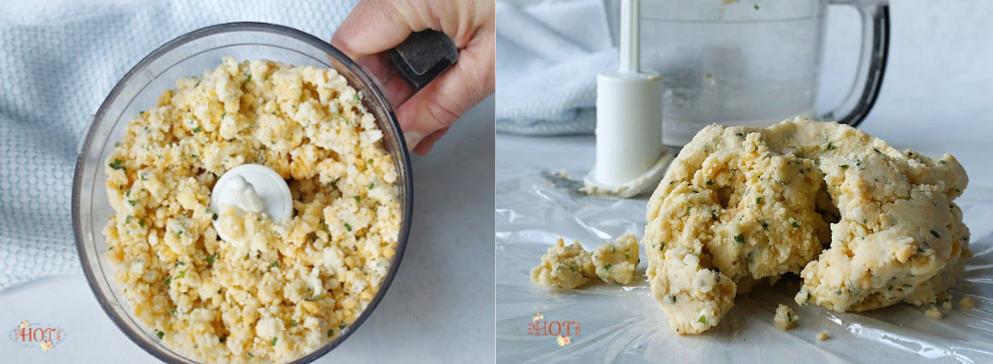 Mixing cheese cracker dough