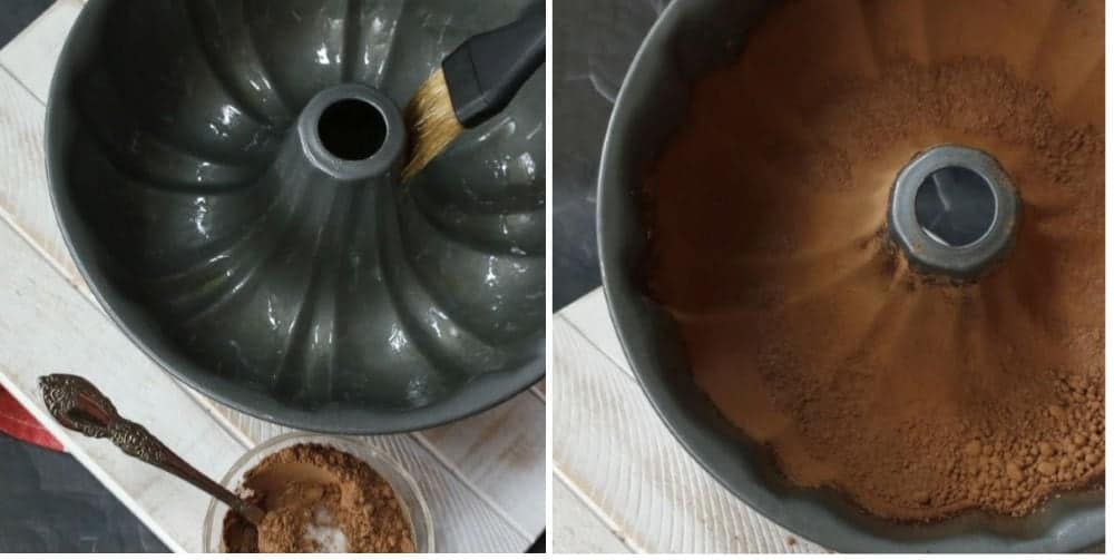 oiling a bundt pan and adding cocoa