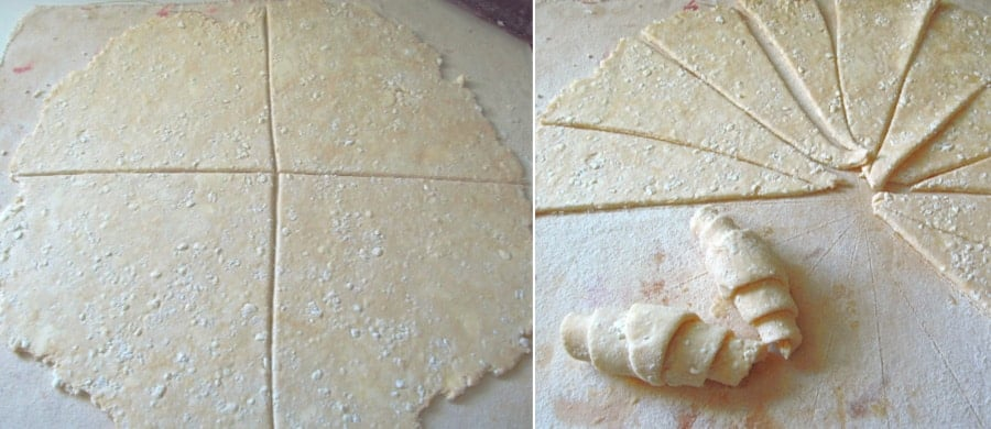 Cutting the crescent dough into trianlges for rolling