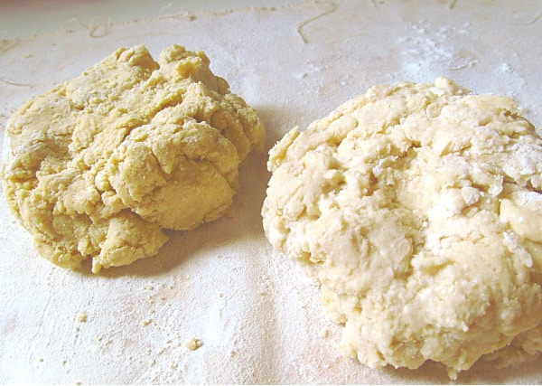 Two mounds of scone dough.