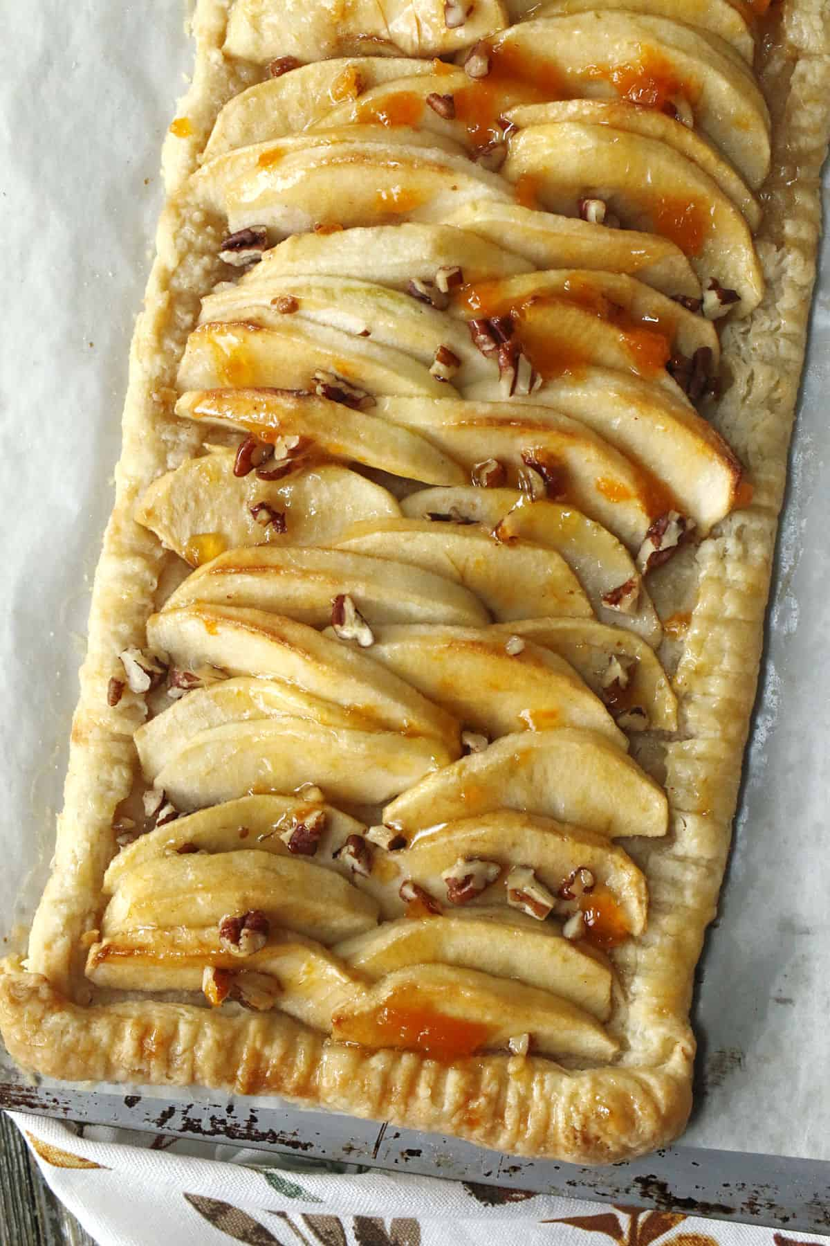 A baked glazed apple tart.