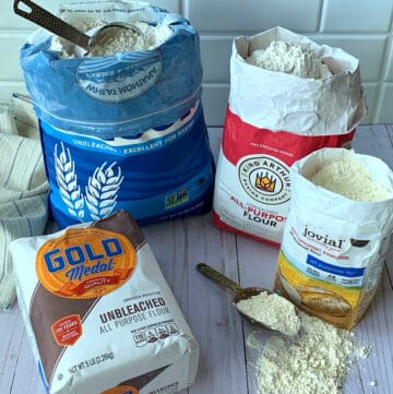 Four bags of the types of all purpose flour I use.