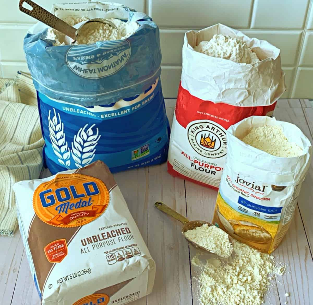 Four different types of flour that I use.