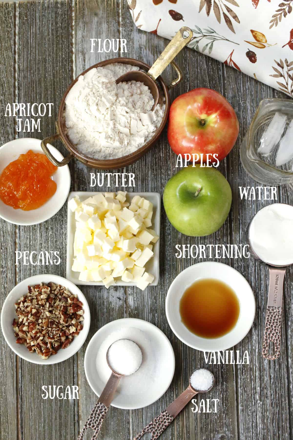 Ingredients for an apple pecan tart.