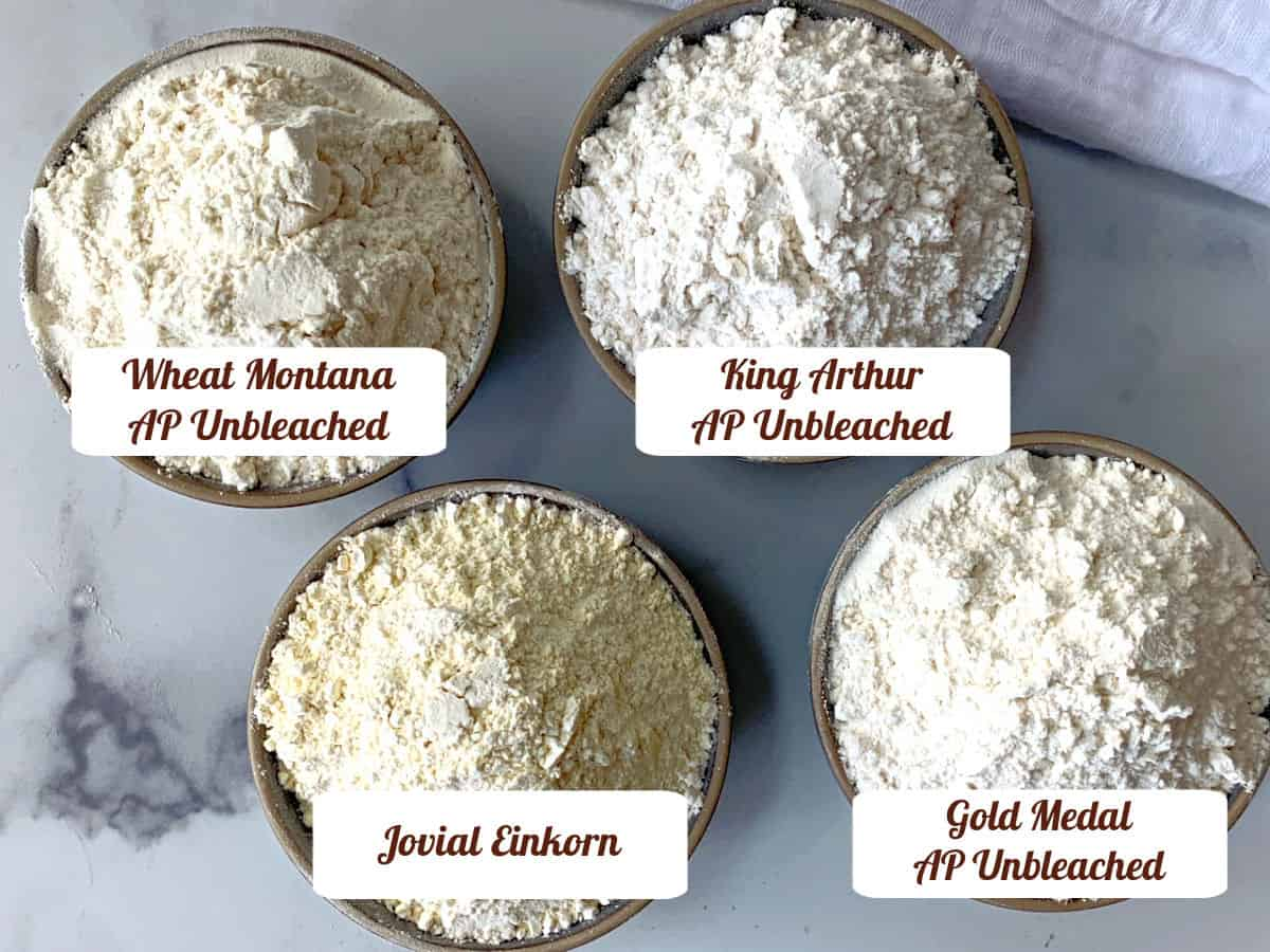 Four different types of all-purpose flours.