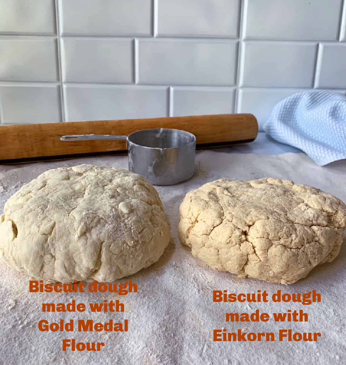 Biscuit dough made with two types of flour.