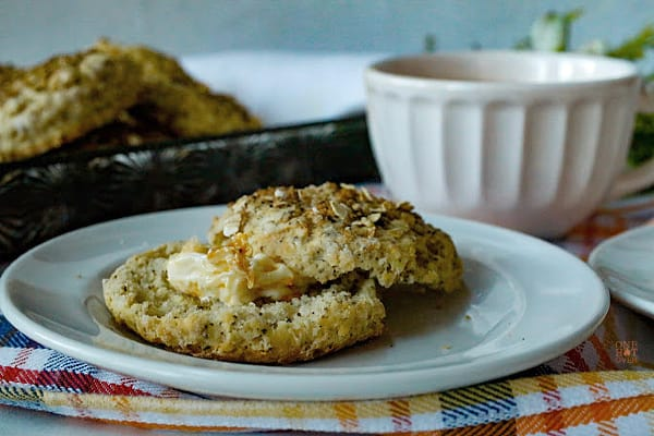 Oatmeal biscuit with butter and tea