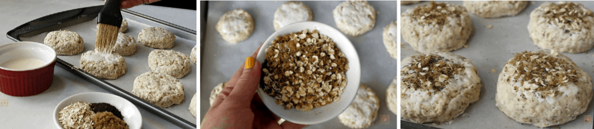 brushing biscuits with milk and adding the topping
