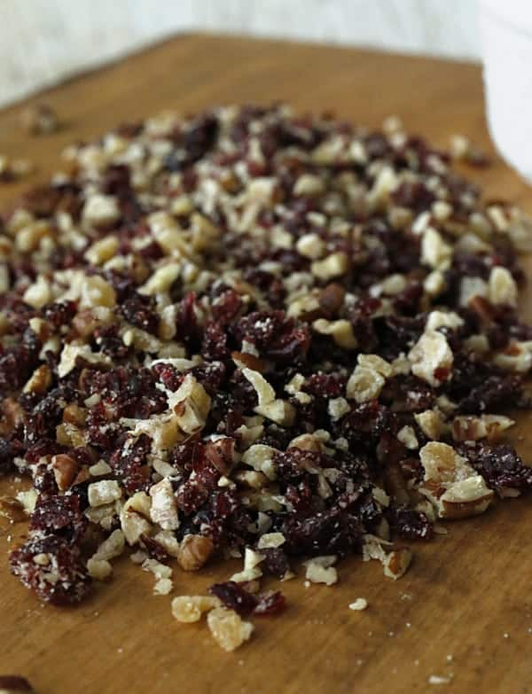 Chopped candied ginger, dried cranberries and pecans