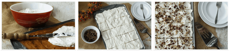 Steps to frost the pumpkin sheet cake