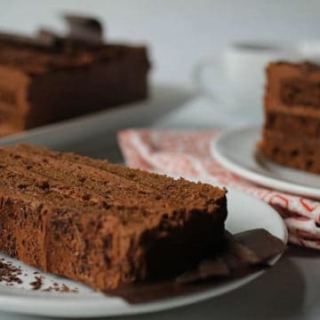 Slices of a chocolate torte cake