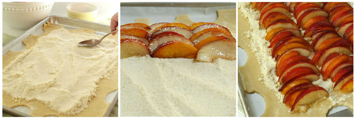 Adding almond filling to a pie crust and topping with sliced peaches