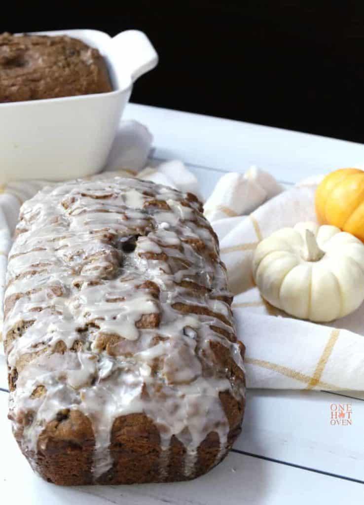 Iced pumpkin cranberry bread