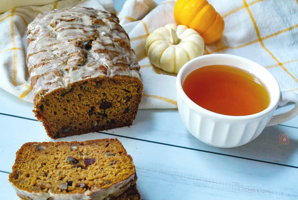 Pumpkin Cranberry Bread with a cup of tea