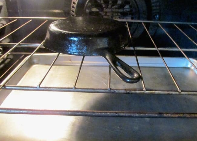 cast iron skillet in oven