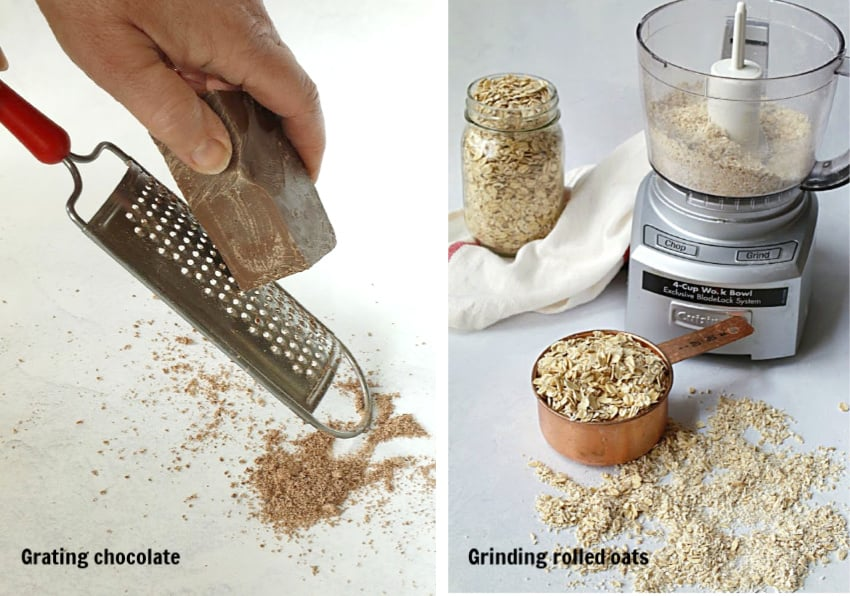grating chocolate and grinding oatmeal