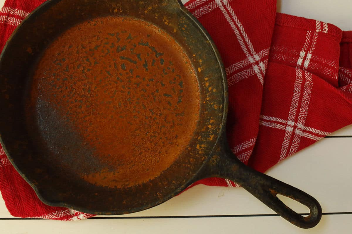 a rusted iron skillet