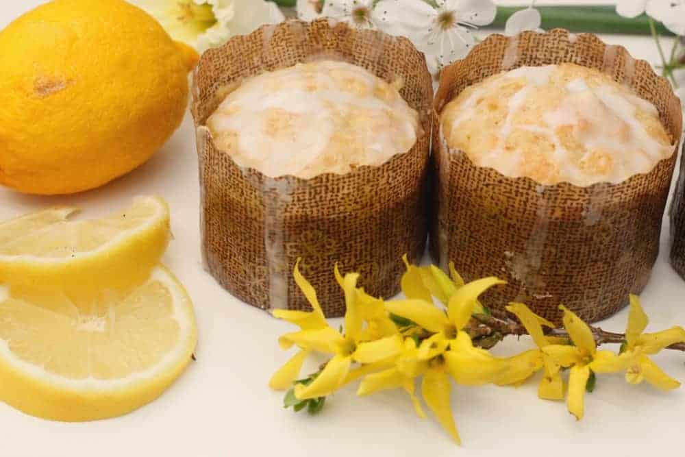 Lemon Muffins with flowers