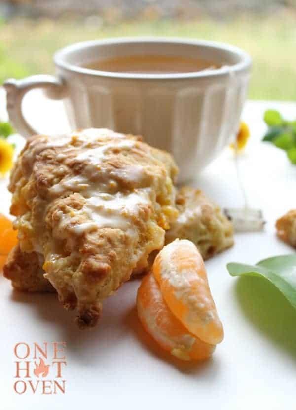 Mandarin orange scones and tea