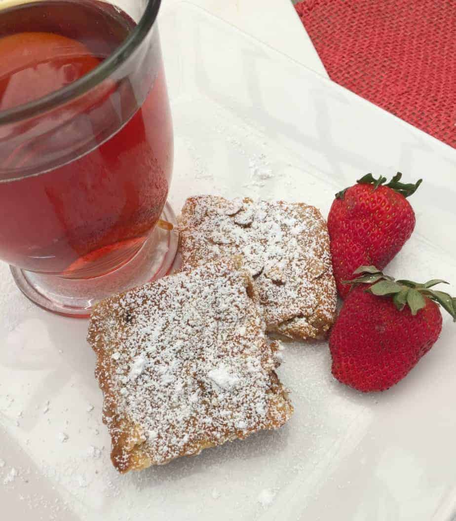 Bakewell Tart Squares and Tea
