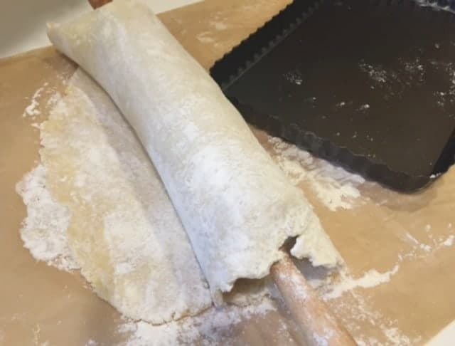 dough on rolling pin