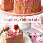 A raspberry cake on a white cake stand