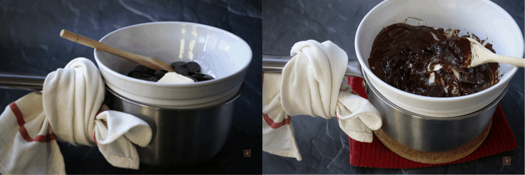 Melting chocolate wafers of a hot water bath for cookies