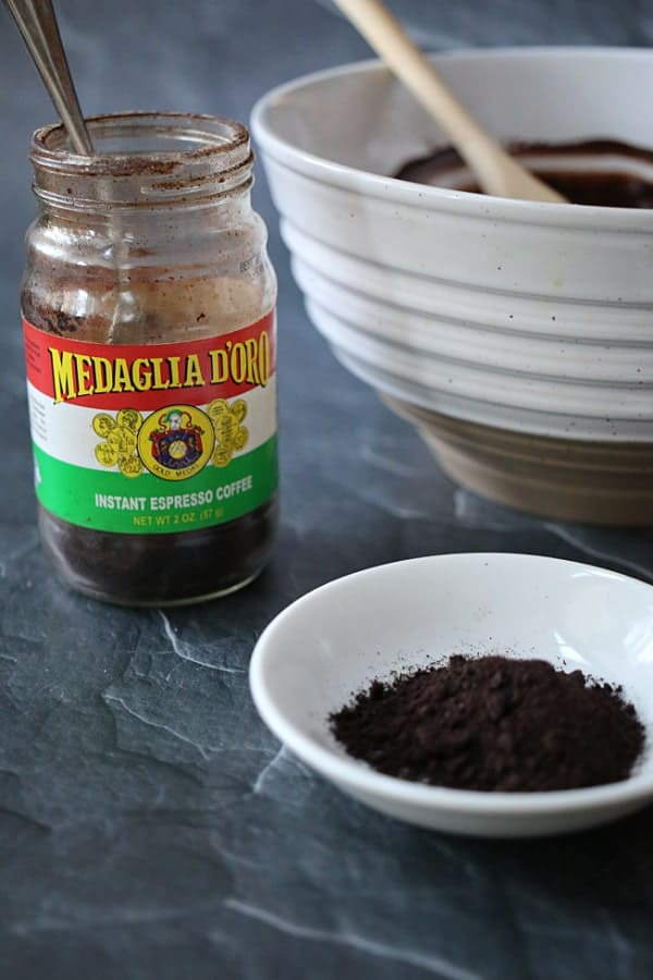 Adding the Medaglia Espresso Powder to the chocolate