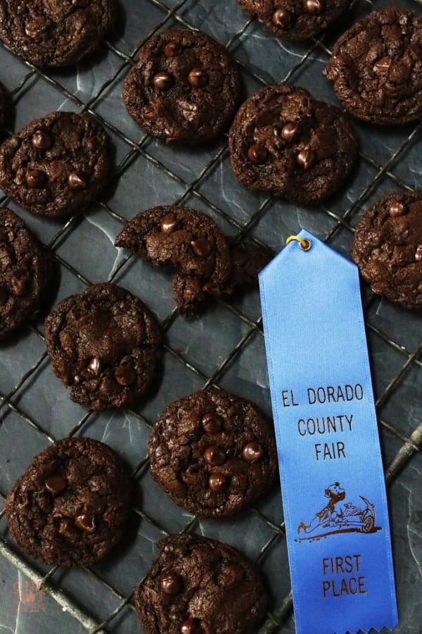 A blue ribbon from the country fair with the chocolate chocolate chip cookies