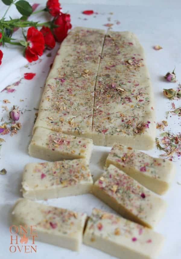 sliced rose petal shortbread