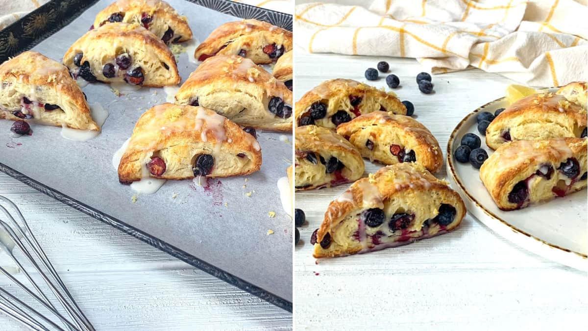 Glazed scones on a baking sheet.