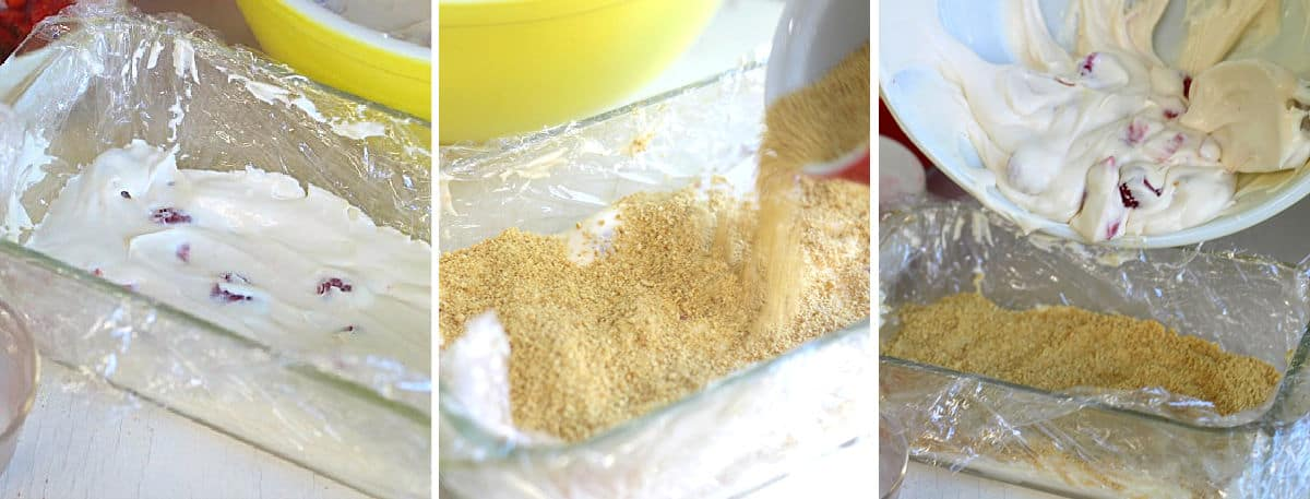 pouring cheesecake batter into a loaf pan.