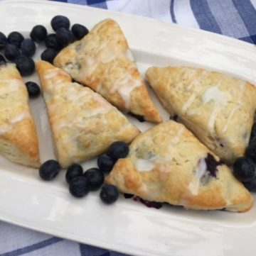 Iced blueberry lemon scones