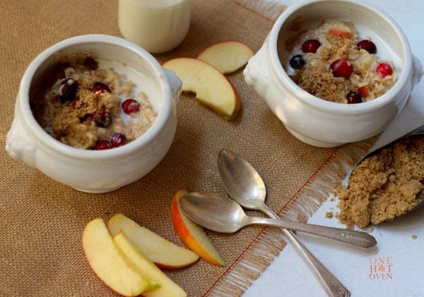 Creamy Spiced Apple Cranberry Oatmeal