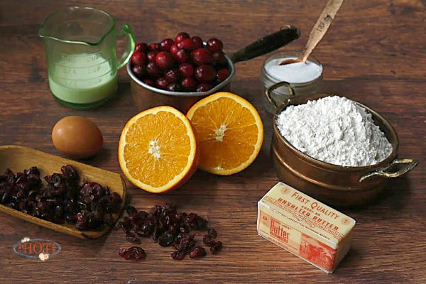 Ingredients for making orange cranberry scones