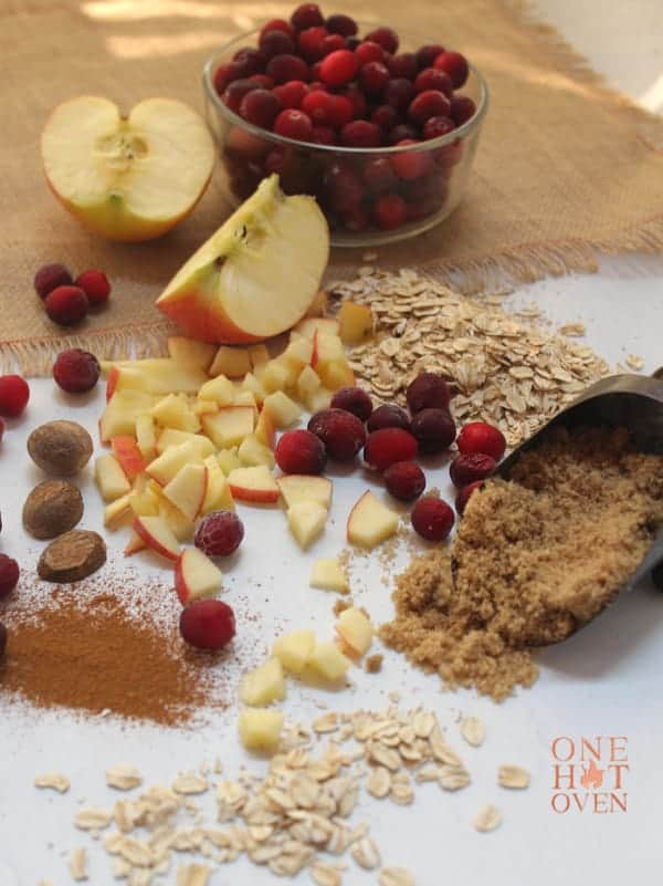 apples, cranberries, oatmeal and spices