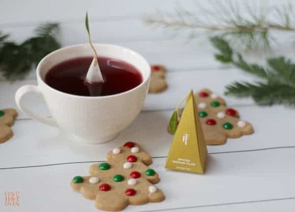 Spiced Christmas Tree Cookies and Hot Tea