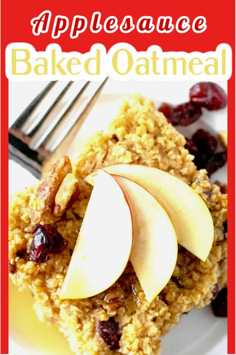 applesauce oatmeal on a plate with maple syrup and apple slices.