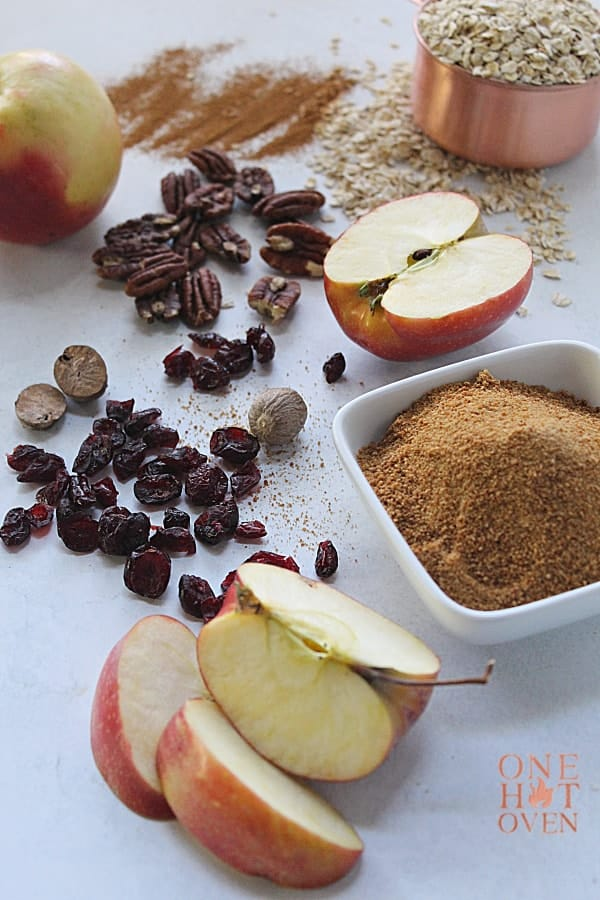 apples, oatmeal, brown, sugar, cranberries