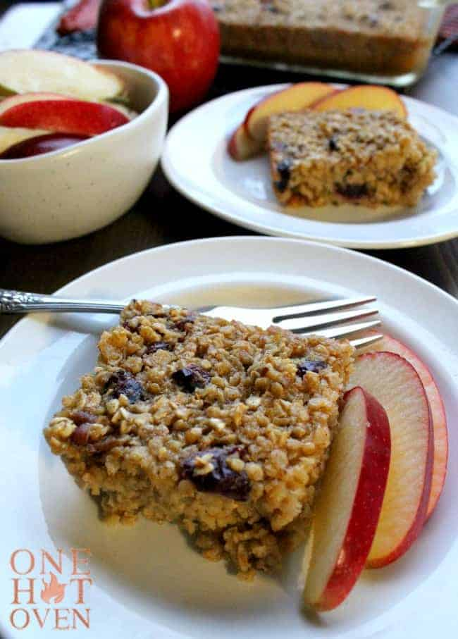 Baked oatmeal on plates