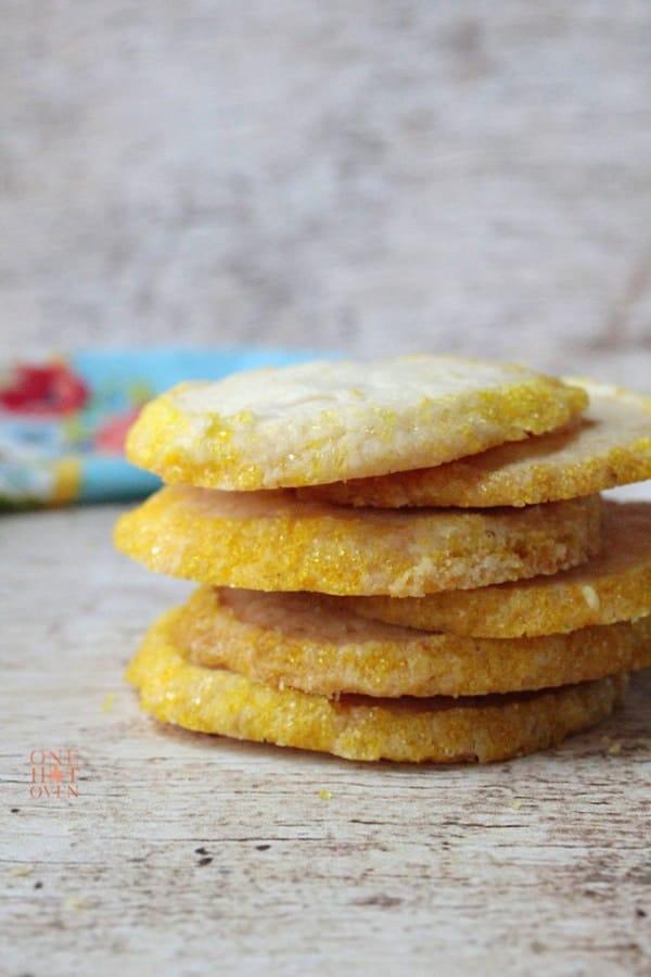 Lemon shortbread cookies rolled in yellow sanding sugar