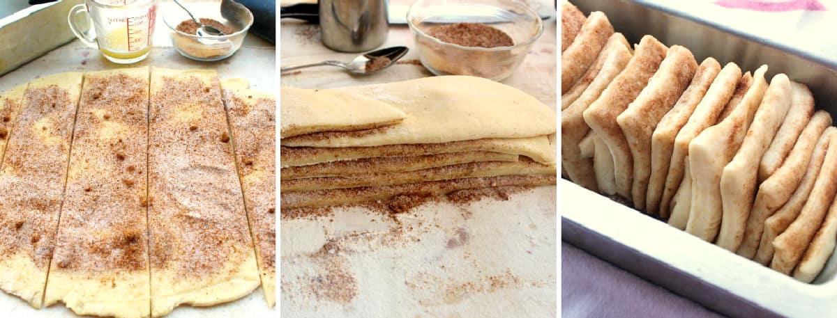Making cinnamon pull-apart bread.