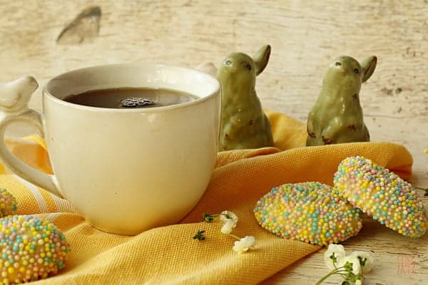 Easter raspberry sprinkle cookies and tea