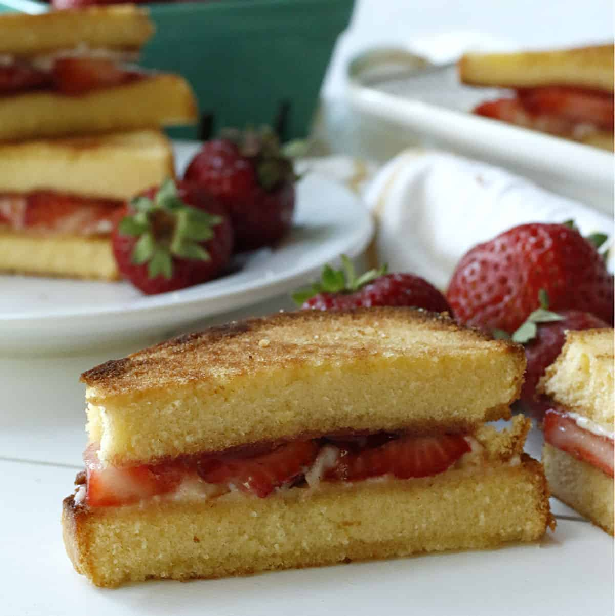 a slice of a dessert grilled cheese with strawberries